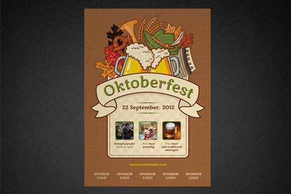 oktoberfest poster template flyer templates creative market