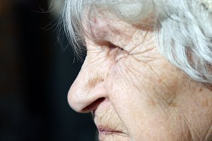 Profile of old woman