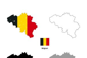 Belgium country silhouettes