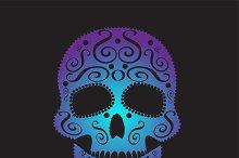 Skull vector ornament purple
