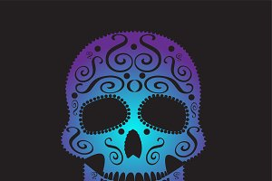 Skull vector ornament purple