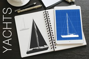 Yachts vector set