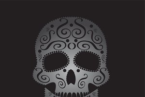Skull vector ornament gray