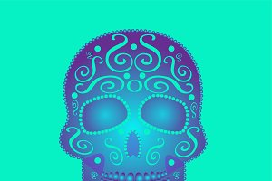 Skull vector ornament neon