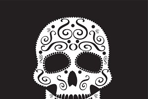 Skull vector white ornament