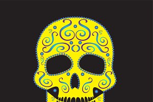 Skull vector yellow ornament