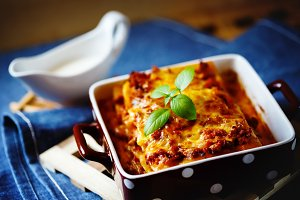 Hot tasty Lasagna plate