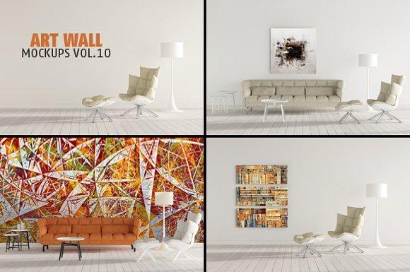 Art Wall Mock-ups VOL.10 - Product Mockups