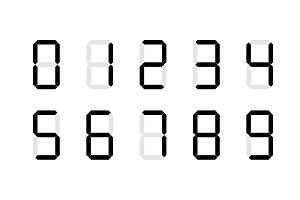 Set of digital number signs