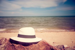 Summer hat and beach