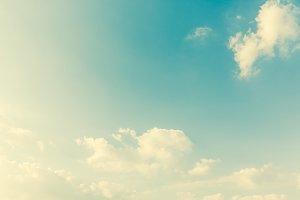 Retro clouds and sky