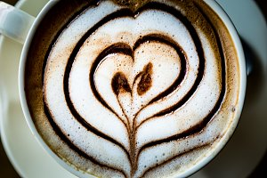 heart shape coffee cappuccino