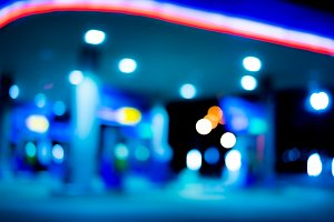 Abstract blur petrol station