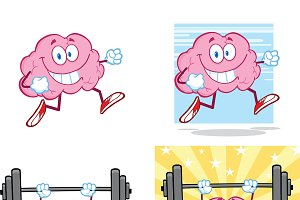Brain Cartoon Mascot Collection - 14