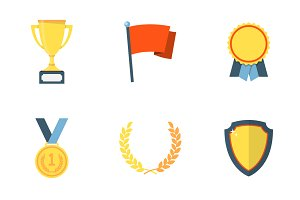 Trophy and awards flat icons