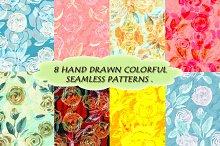Watercolor seamless patterns.
