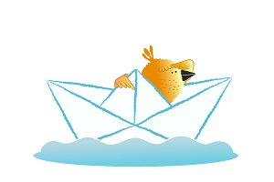 Bird sailing in a paper boat