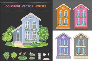 Houses and Fruit Garden vector set