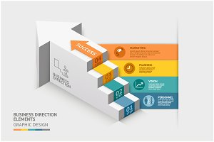 3D Business Staircase Infographics
