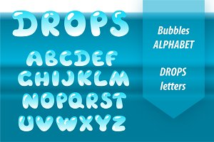 Bubble letters. Water drop font