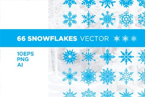 Set of 66 snowflakes