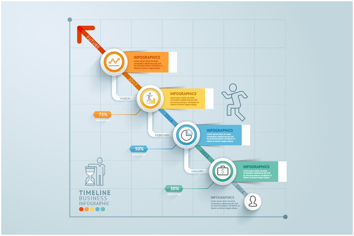 business timeline infographics web elements creative market