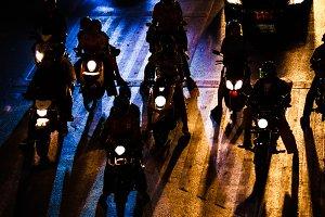 Traffic jam in Bangkok night