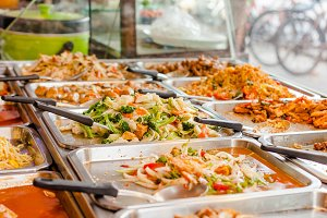 Variety of street food in Thailand