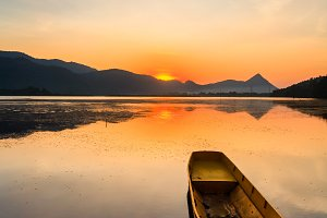 Sunrise with lake and mountain