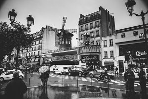 Paris Moulin Rouge B&W