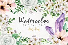 Watercolor floral set