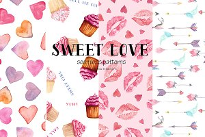 Watercolor Seamless Patterns - Love