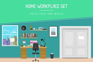 Flat Home Workplace Set vector