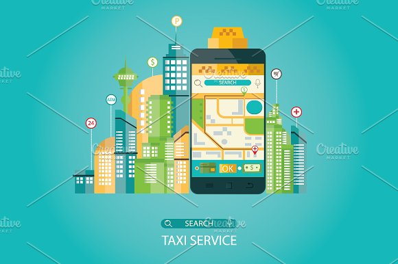 Illustration Of Taxi Service
