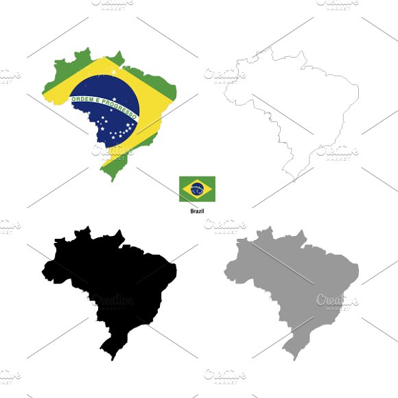 Brazil country silhouettes