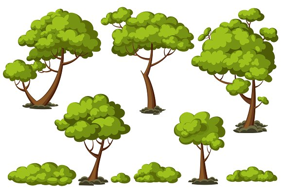 Cartoon trees set