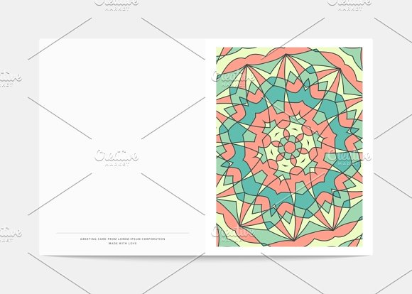 Postcard Retro. Mandala cover - Objects