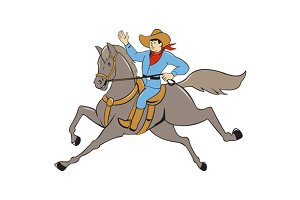 Cowboy Riding Horse Waving Cartoon