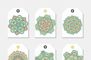 Set of 6 label with the mandala