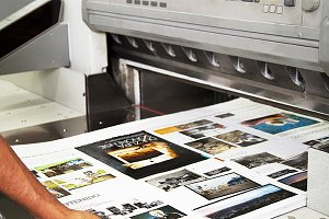 Close up of an offset printing