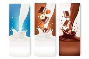 Set Of Banners With Milk Splashes