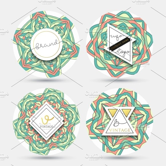 Set of 4 label with the mandala