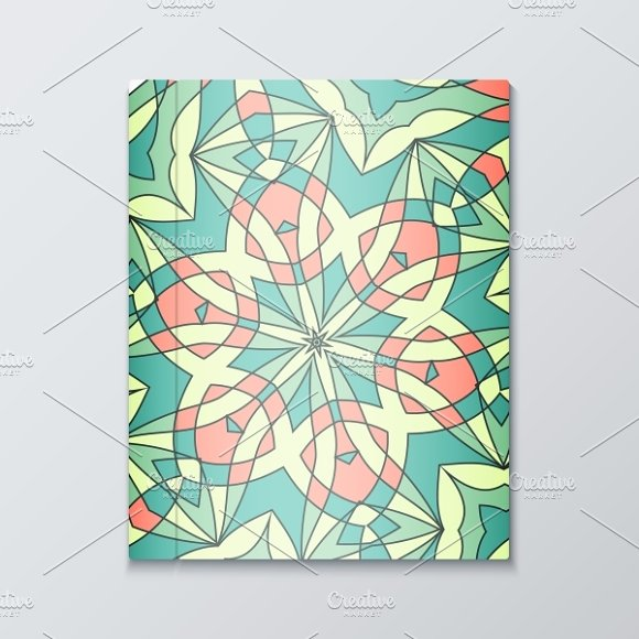 Cover for books. Bright pattern in Objects