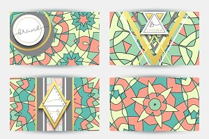 Business card set. Mandala pattern