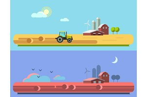 Rural landscape. Morning and night.