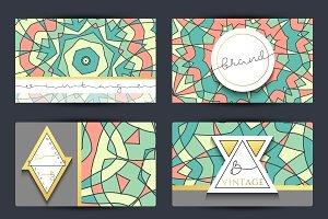 Business card set. Mandala pattern