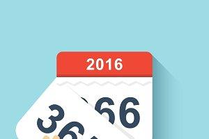 Calendar flat style leap year 2016