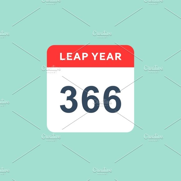 Calendar Flat Style Leap Year Icons Creative Market