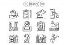 Housing agency line icons. Set 1