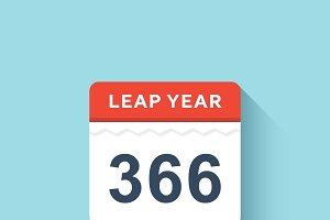 Calendar flat style leap year